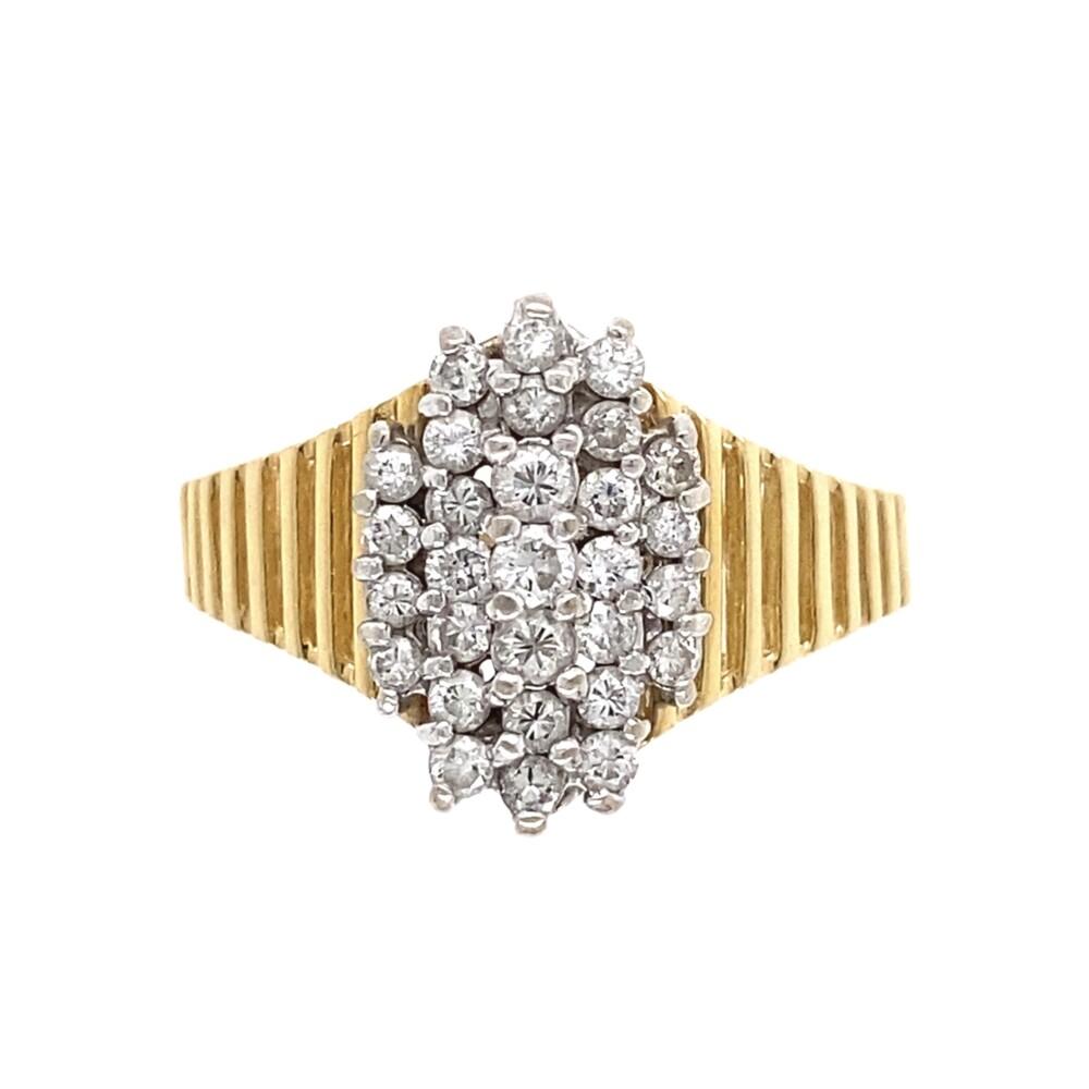 14K YG 1980's Tapered .60tcw Cluster Diamond Ring 3.7g, s8