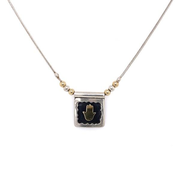 "Closeup photo of 925 & 14K YG Hamsa Pendant Necklace 6.7g, 17"""