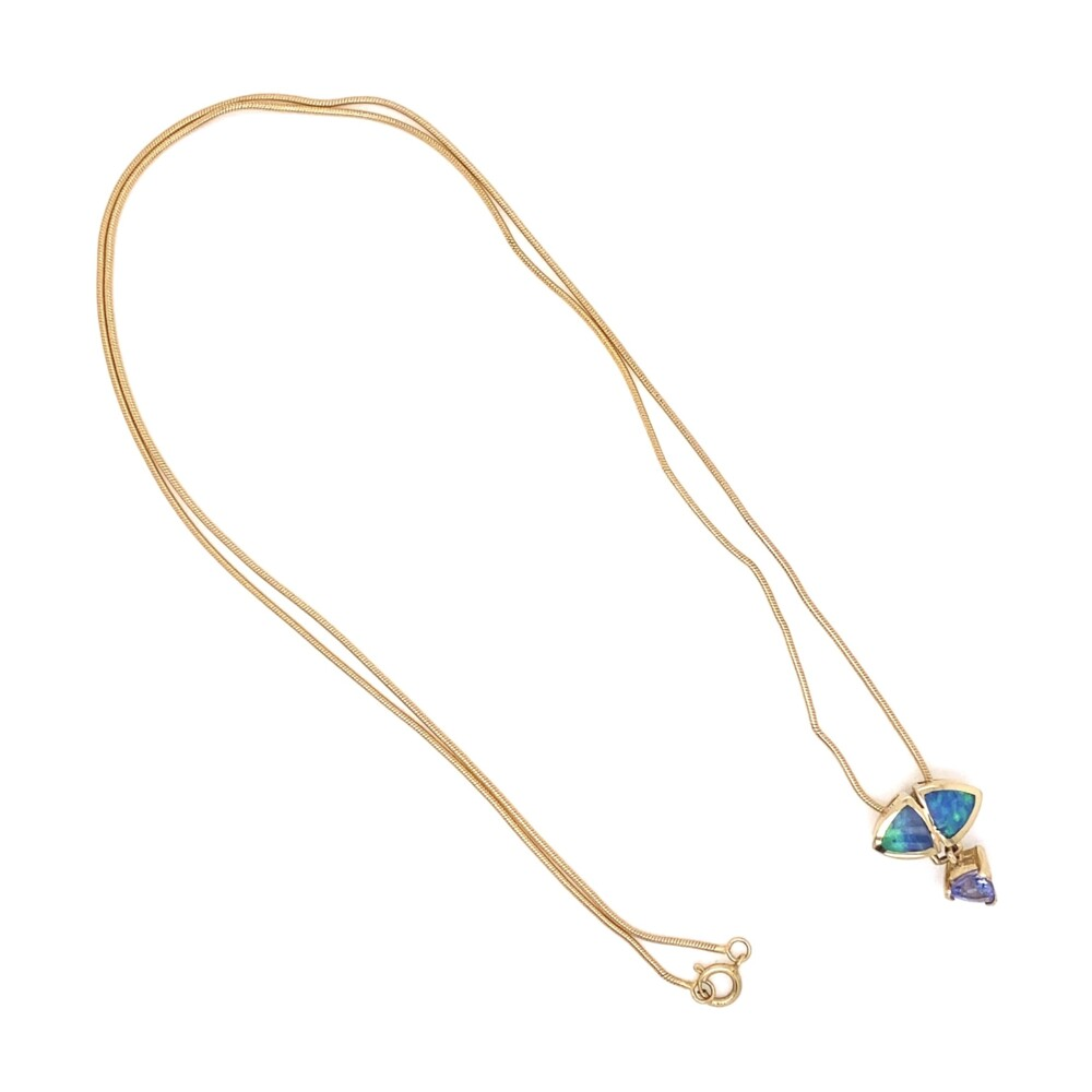 14K YG Opal & Tanzanite Drop Necklace 4.3g, 18""