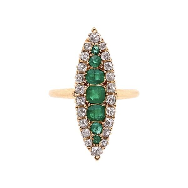 Closeup photo of 14K YG Victorian Navette Emerald & Diamond Ring 2.8g, s7