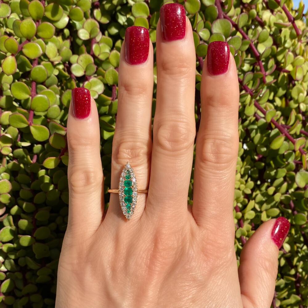 14K YG Victorian Navette Emerald & Diamond Ring 2.8g, s7