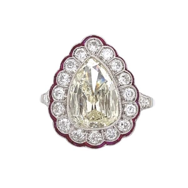 Closeup photo of Platinum Art Deco 1.75ct Antique Pear Diamond & Ruby Ring 5.9g, s7