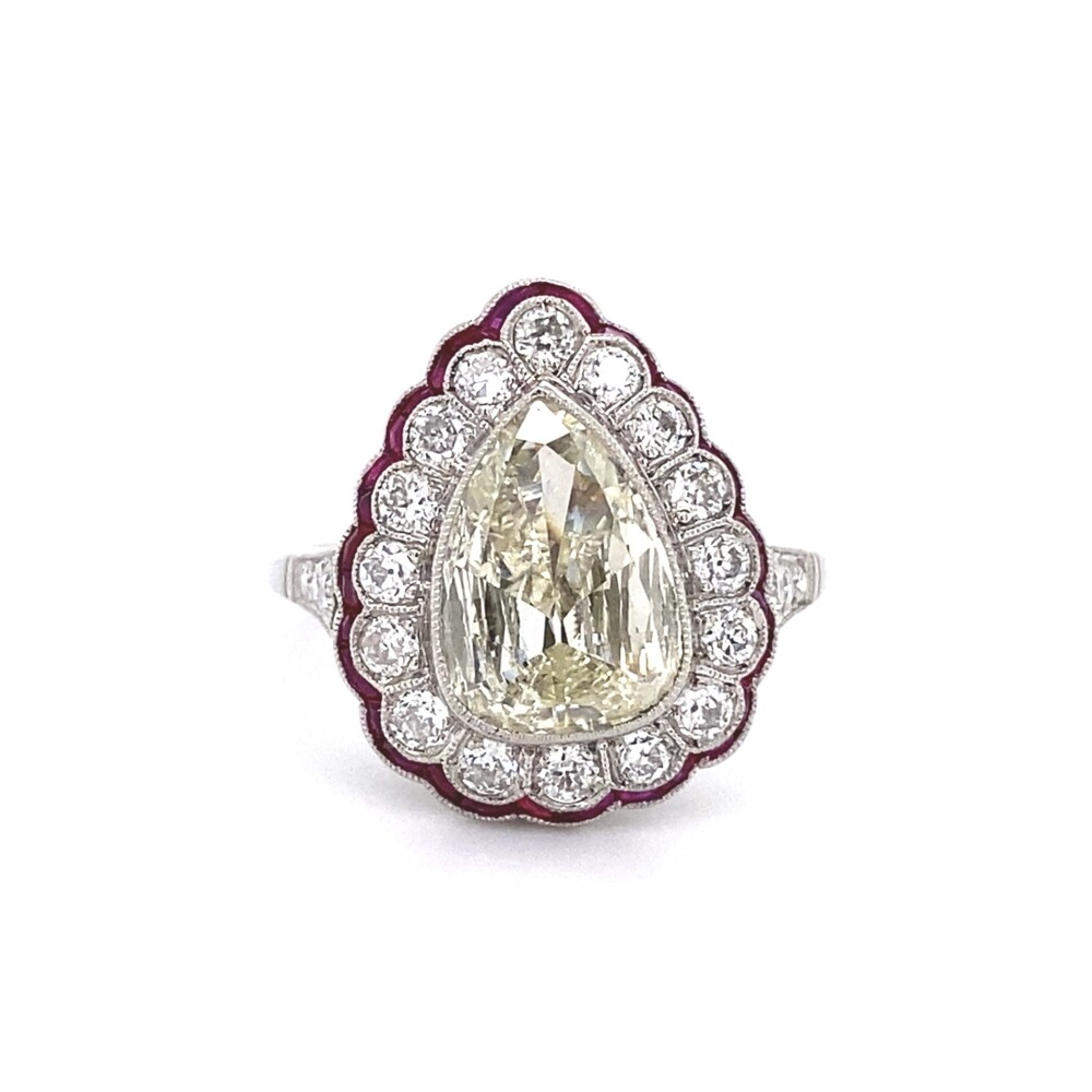 Platinum Art Deco 1.75ct Antique Pear Diamond & Ruby Ring 5.9g, s7