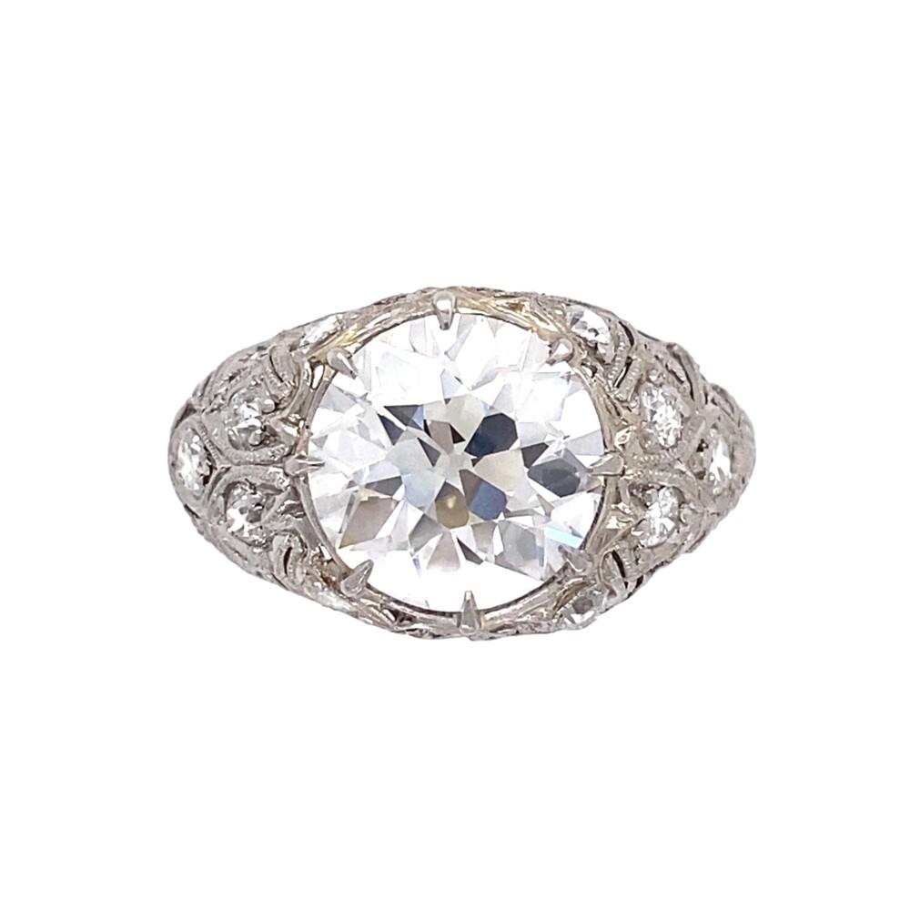 Platinum Art Deco 3.53tcw Diamond Ring with Hand Detailing, s6.75