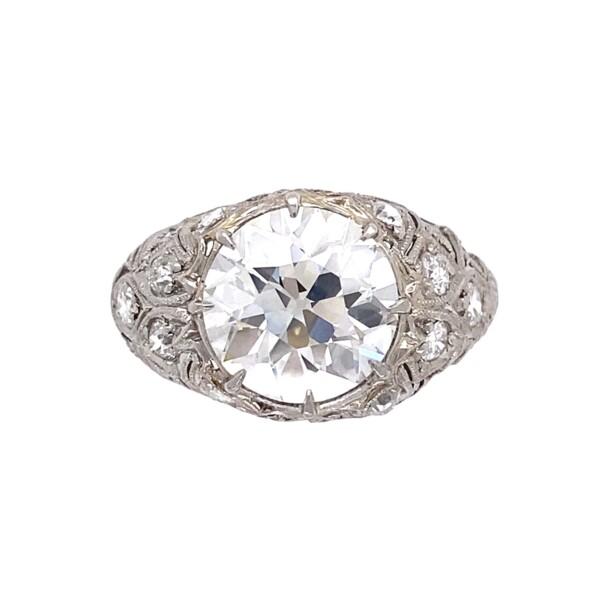Closeup photo of Platinum Art Deco 3.53tcw Diamond Ring with Hand Detailing, s6.75