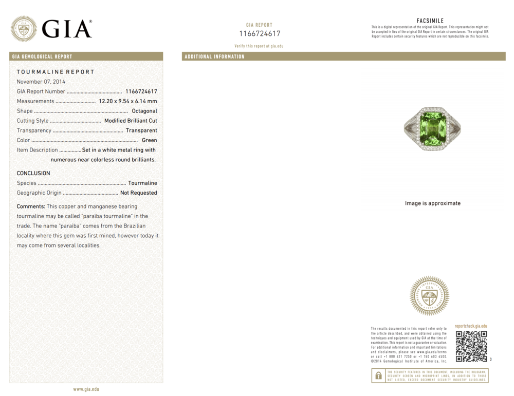 Platinum 6.00ct Paraiba Tourmaline GIA & Diamond Ring, s6.5