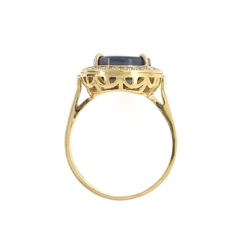 18K YG 3.93ct Black Opal & .23tcw Diamond Ring, s6.5