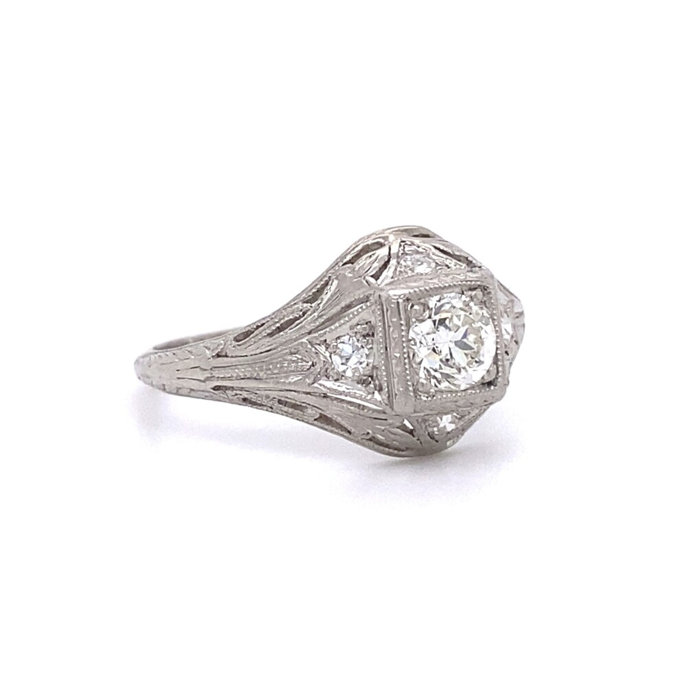 Platinum Art Deco .62tcw Diamond Engraved Ring, s6