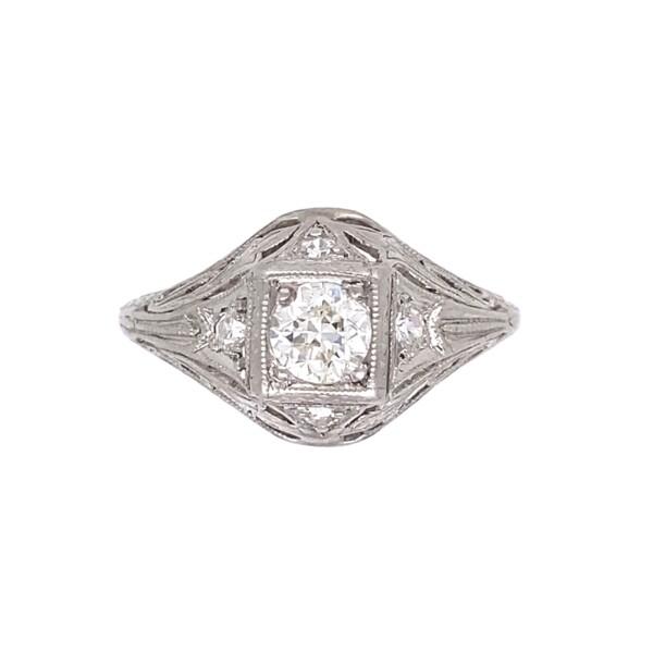 Closeup photo of Platinum Art Deco .62tcw Diamond Engraved Ring, s6