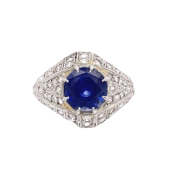 Closeup photo of Platinum Art Deco 2.05ct Sapphire & .58tcw Diamond Ring, s6.75
