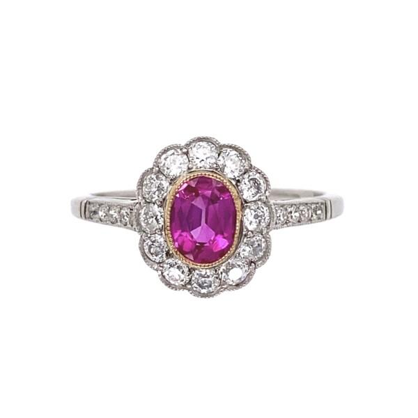 Closeup photo of Platinum Art Deco GIA Burma Ruby & Diamond Ring, s6.5