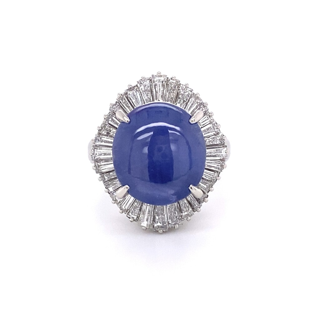 Platinum 1950's 12.05ct Star Sapphire & Ballerina Diamond Ring 1.47tcw, s6.25