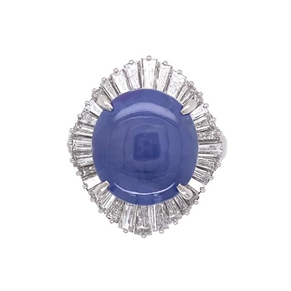 Closeup photo of Platinum 1950's 12.05ct Star Sapphire & Ballerina Diamond Ring 1.47tcw, s6.25