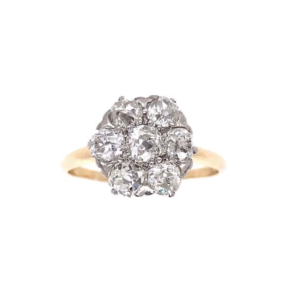 Closeup photo of 14K 2tone Edwardian 1.70tcw Cluster Diamond Ring, s8