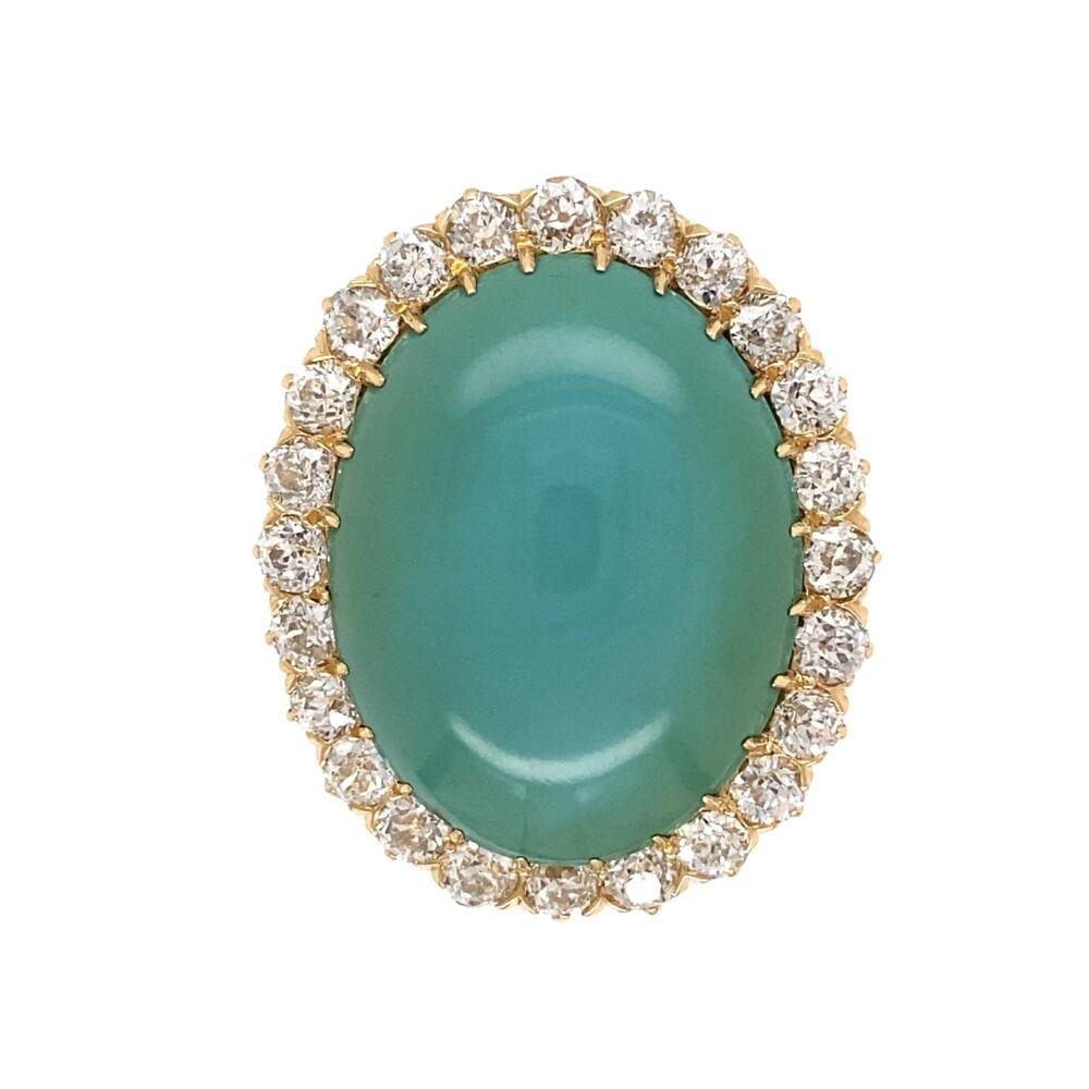 14K YG 18.29ct Oval Turquoise & 2.60tcw Diamond Ring, s7.25