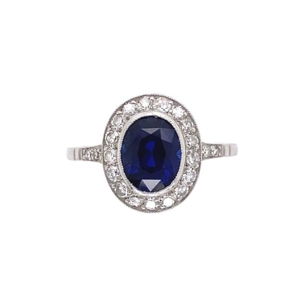 Closeup photo of Platinum Art Deco 2.51ct Oval Sapphire GIA NO Heat, Ceylon Diamond Ring, s7.5