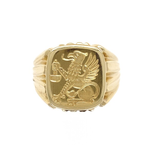 Closeup photo of Rich Yellow Gold Mens Griffin Crest Signet Ring 11.6g, s10.75