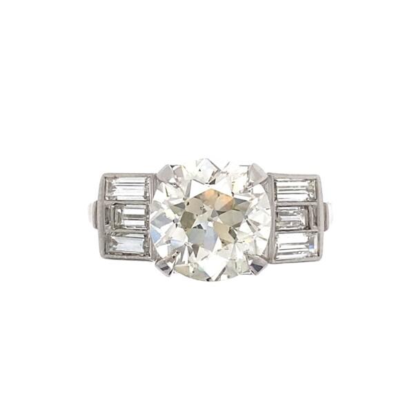 Closeup photo of 3.06ct Old European Cut Diamond in Baguette Platinum Ring 6.4g, s6