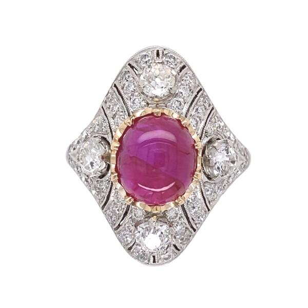 Closeup photo of Art Deco 4.11ct Burmese Star Ruby NO Heat & 1.80tcw Diamond Ring in Platinum, s7