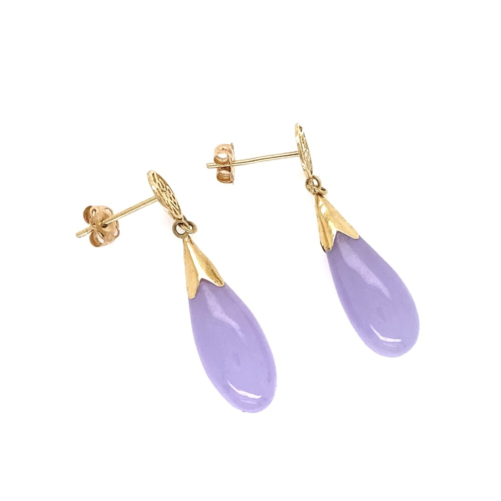 Lavender Jadeite Jade Chinese Drop Earrings 14K YG