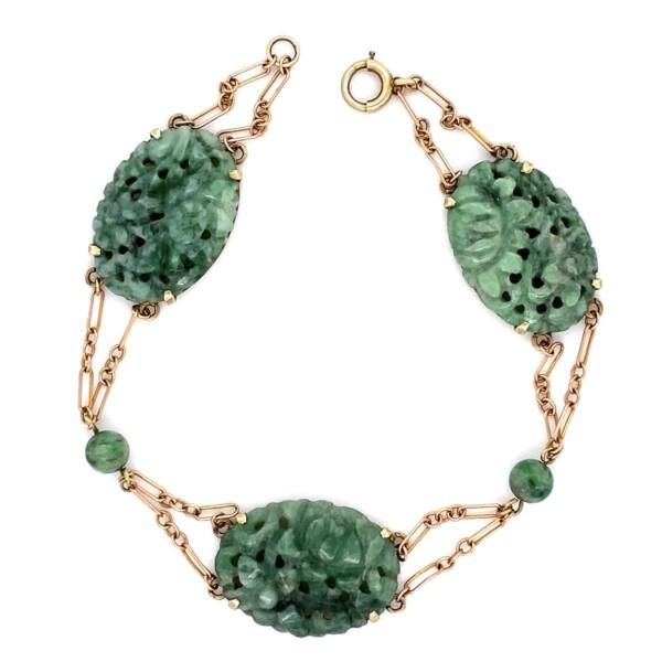 """Closeup photo of Carved Jade Link Bracelet 14K YG 7.8g, 7"""""""