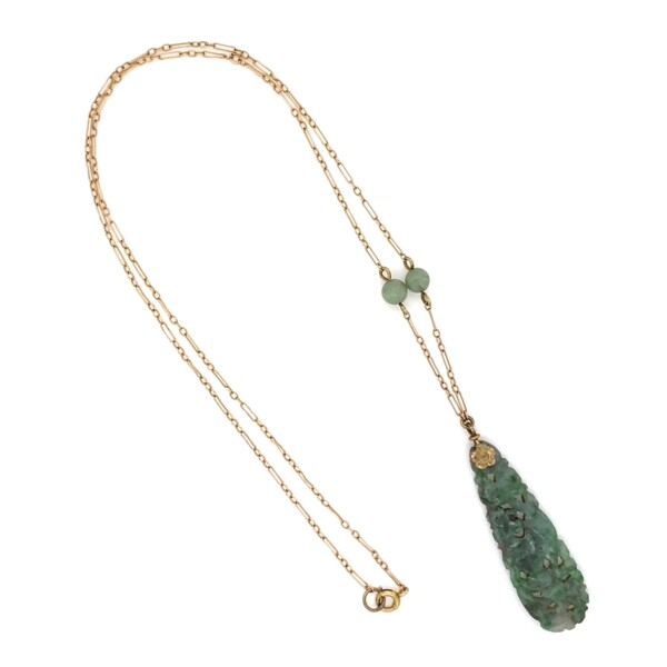 "Closeup photo of Carved Jade Drop Necklace 14K YG 3.8g, 18"""