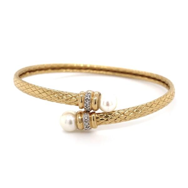 Closeup photo of Akoya Pearl & Diamond Flexible Bypass Bracelet 7.7g