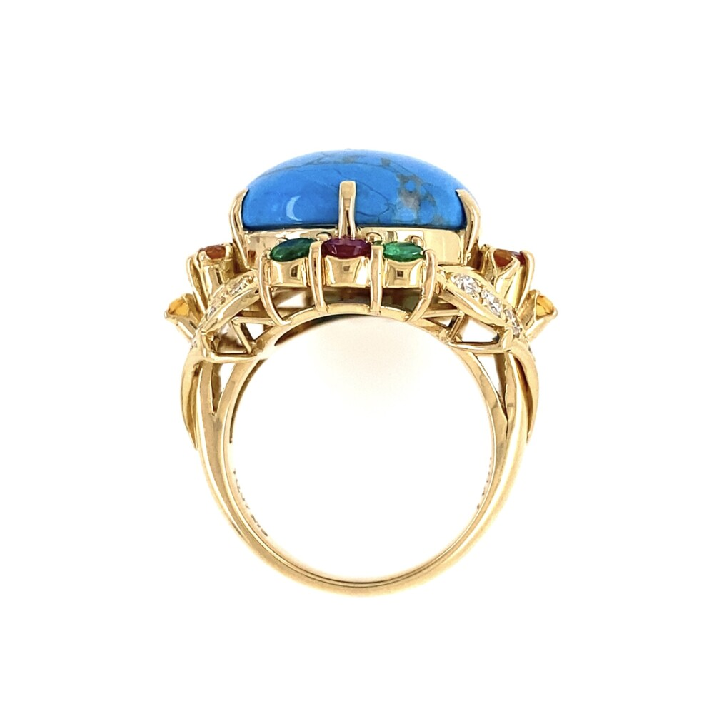 18K YG Turquoise, Diamond, Emerald & Ruby Ring 14.2g, s6.5