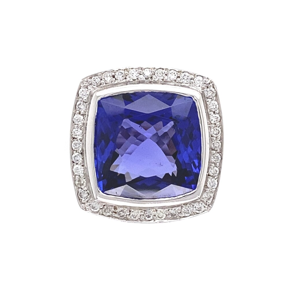 18K WG 8.58ct Cushion Tanzanite & Diamond Ring 12.3g, s6.25