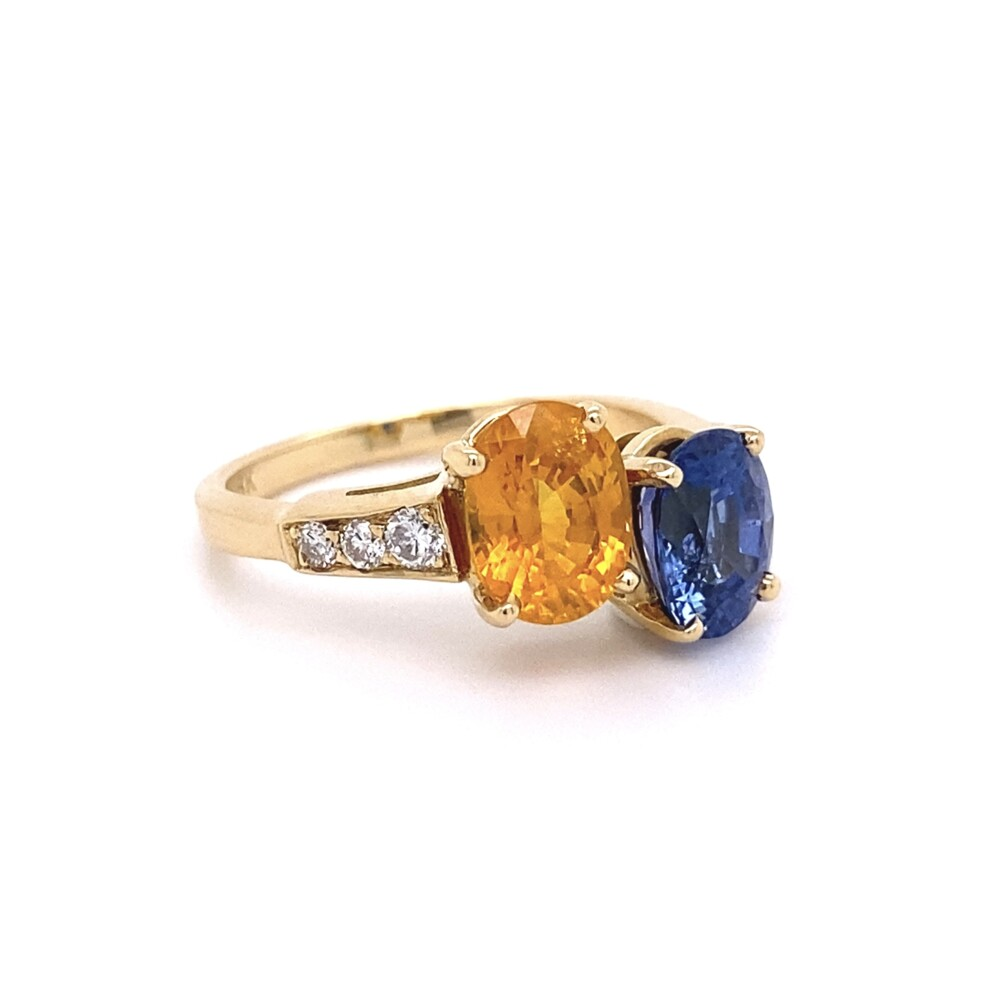Bypass Blue & Yellow Sapphire Ring with Diamonds 5.4g, s7