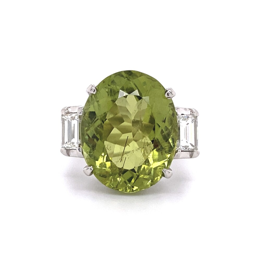 12.71ct Oval Green Tourmaline & .90tcw Diamond Ring 16.3g, s6