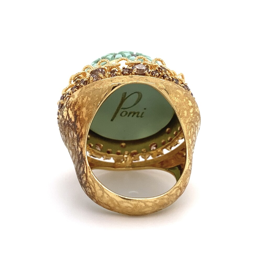 Pomi Designer Dome Ring with Resin and Diamonds 25.1g, s9