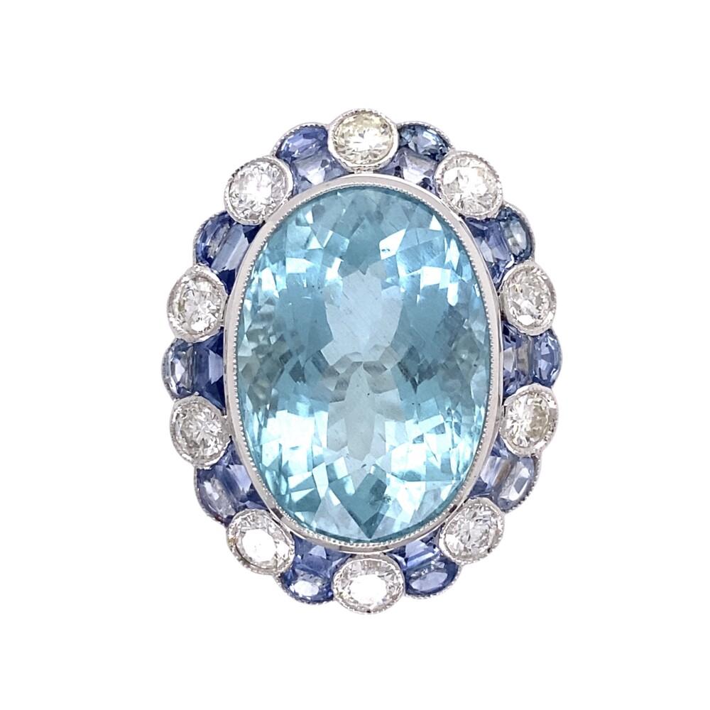 16.50ct Oval Aquamarine, Sapphire & Diamond Ring 11.9g, s7