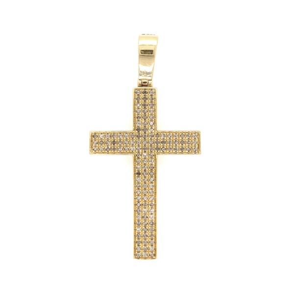 "Closeup photo of Pavé Diamond Cross in 10K Yellow Gold 4.2g, 2"" Tall"