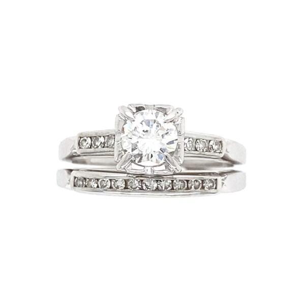 Closeup photo of Wedding Set .54tcw Transitional Diamond Ring & Band 4.15g, s5