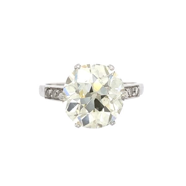 Closeup photo of Art Deco 4.46ct Old European Cut Diamond Solitaire Ring, s7