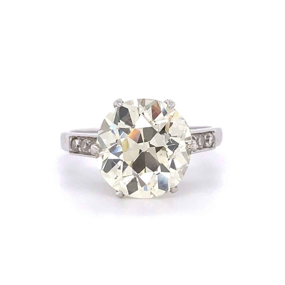 Art Deco 4.46ct Old European Cut Diamond Solitaire Ring, s7