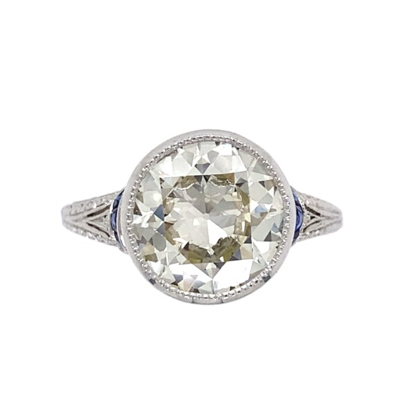 Closeup photo of 3.69ct Old European Cut Diamond Art Deco Ring, s7