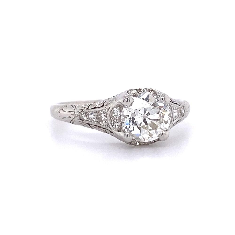 Platinum 1ct Old European Cut Diamond Ring with Engraving, s6.5