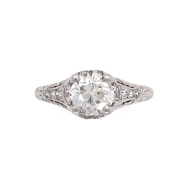 Closeup photo of Platinum 1ct Old European Cut Diamond Ring with Engraving, s6.5