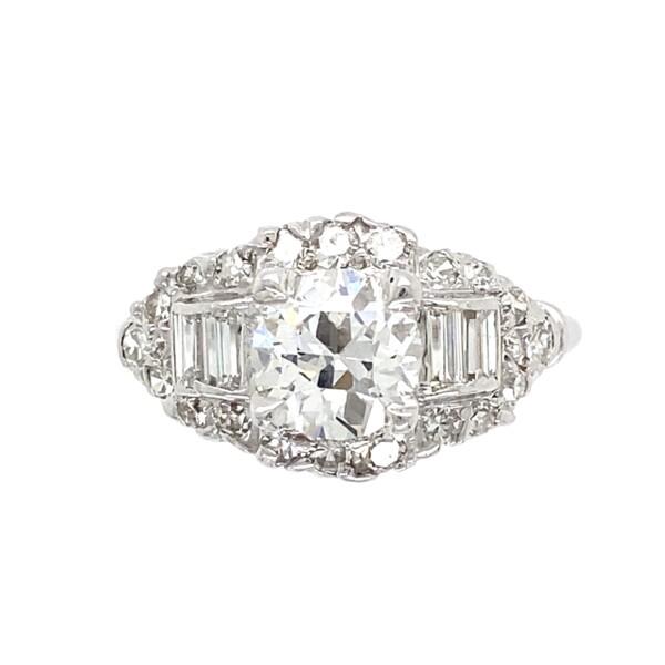 Closeup photo of Platinum 1950's 1.69tcw Diamond Ring with Baguette Diamonds, 7