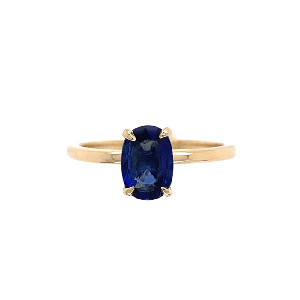 Solitaire 1.10ct Spready Oval Sapphire Ring in 18K Yellow Gold, s7