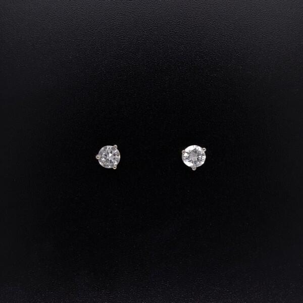 Closeup photo of .56tcw Old European Cut Diamond Studs 3 Prong 14K WG, 4.4mm