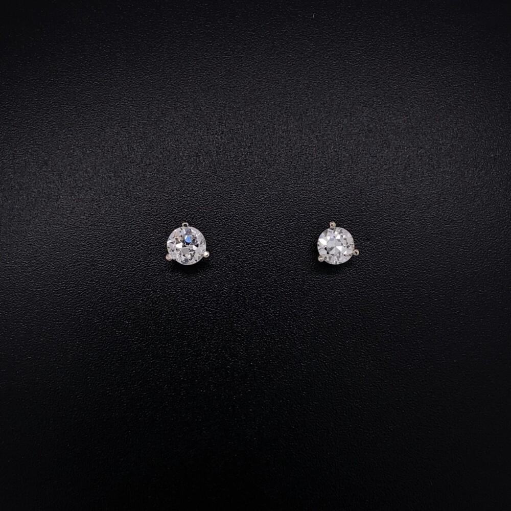 .58tcw Old European Cut Diamond Studs 3 Prong Martini 4.35mm