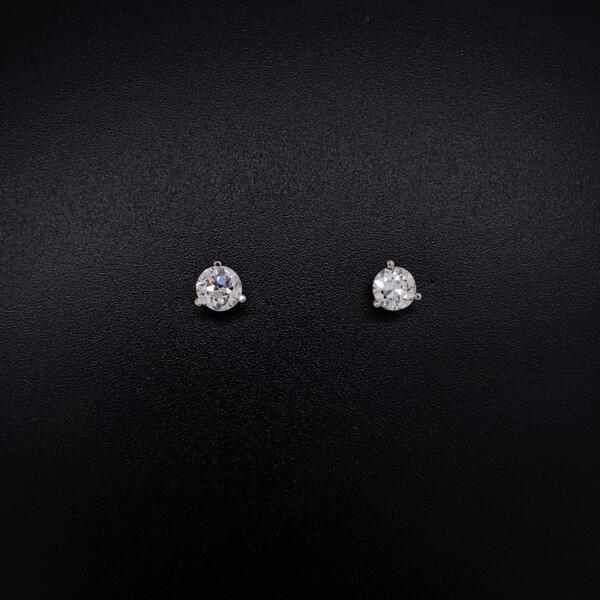Closeup photo of .58tcw Old European Cut Diamond Studs 3 Prong Martini 4.35mm
