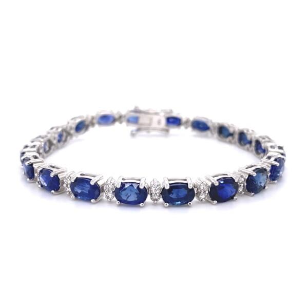"Closeup photo of 19.91tcw Oval Sapphire & 1tcw Diamond Line Tennis Bracelet 15.9g, 7"""