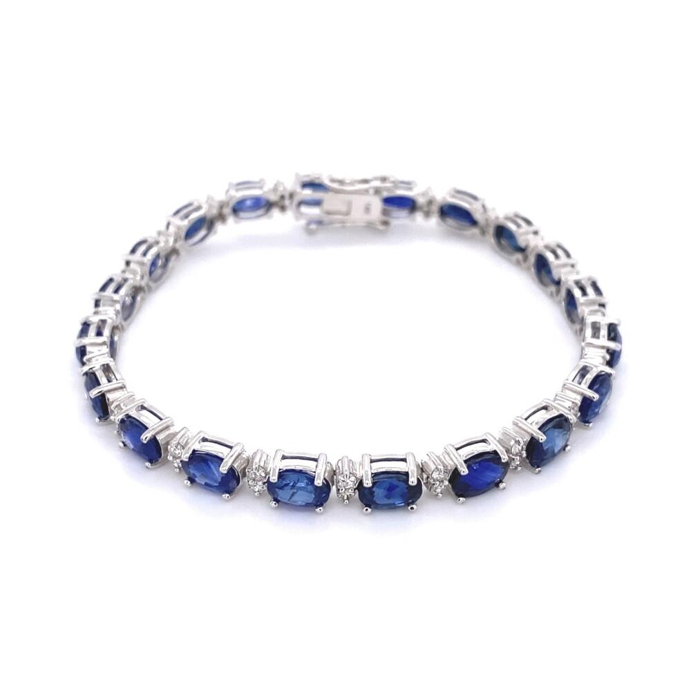 """19.91tcw Oval Sapphire & 1tcw Diamond Line Tennis Bracelet 15.9g, 7"""""""