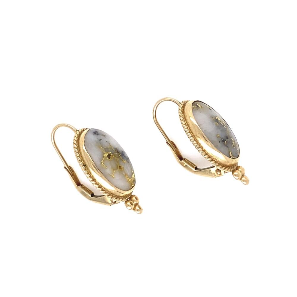 """14K YG Gold Quartz Etruscan Earrings  3.5g, 1"""" Tall"""