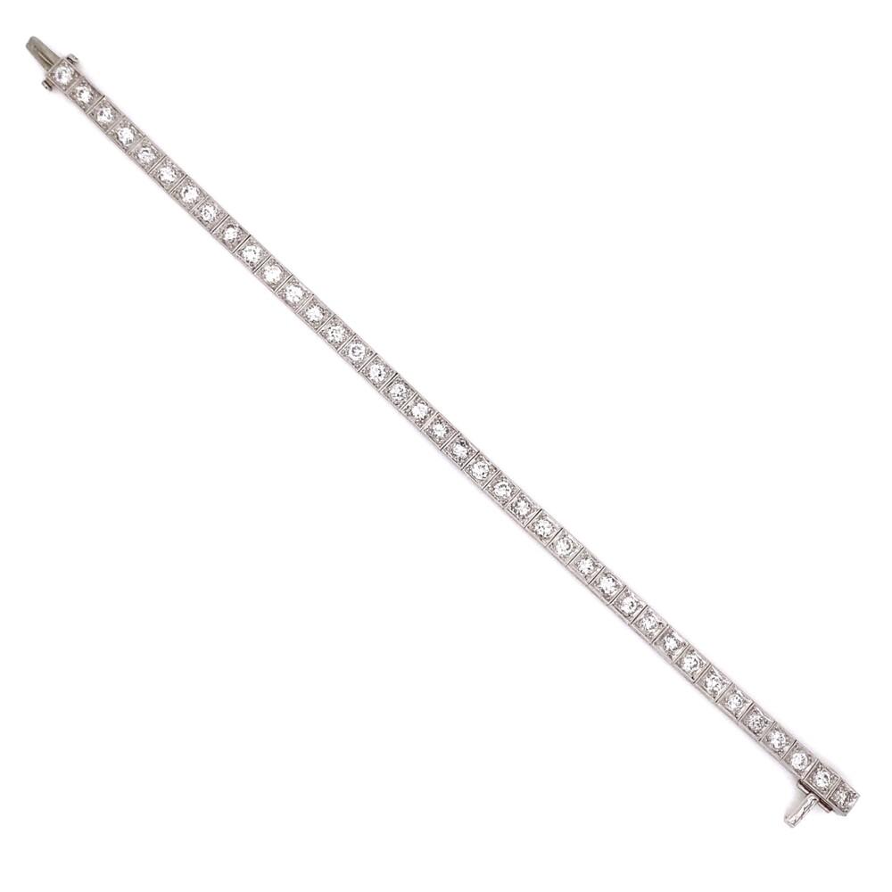 4.50tcw OEC Diamond Art Deco Line, Tennis Bracelet 16.4g, 7in