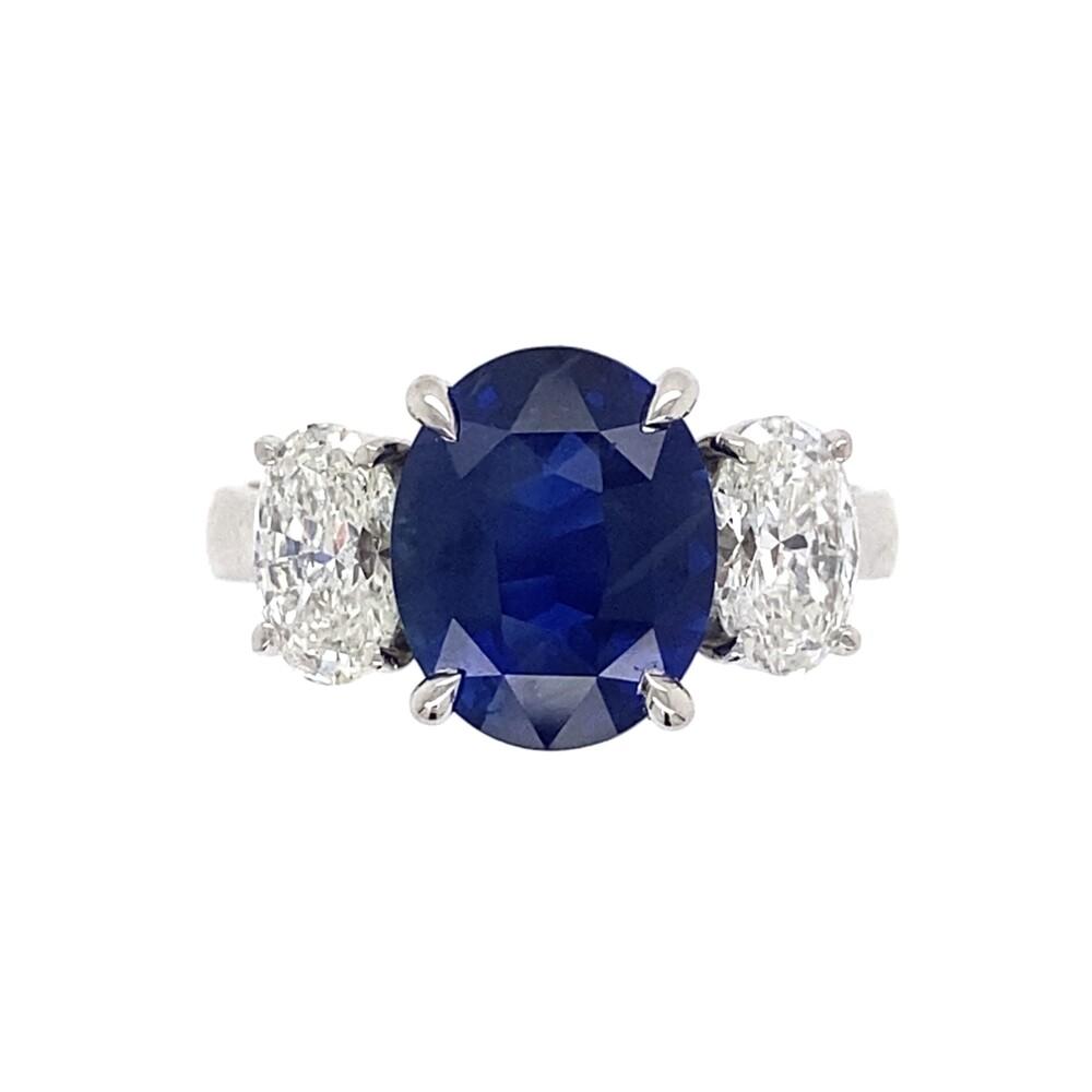 Platinum 3.39ct Oval Sapphire & 1.12tcw Oval Diamond Ring, s6.5